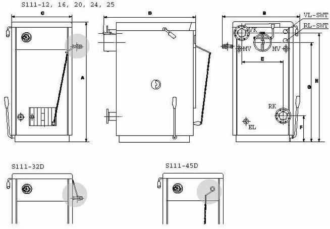 Габаритный чертеж твердотопливных котлов Buderus Logano S111