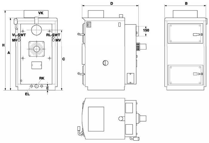 Габаритный чертеж пиролизных котлов Buderus Logano S121/S121 WT.